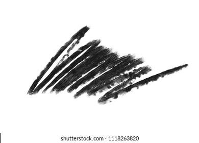 Stroke of black eye pencil isolated on white background. Zigzag strip