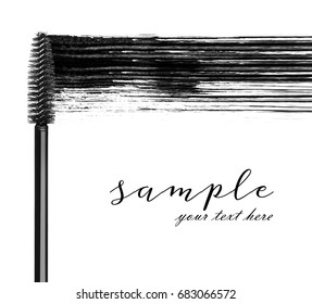 Stroke of black mascara with applicator brush close-up