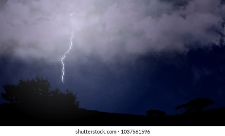 Stroke of branched lightning shoots out of cloud and strikes the trees below