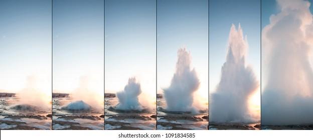 Strokkur Geyser Erupting against Sunset in Iceland (burst mode)