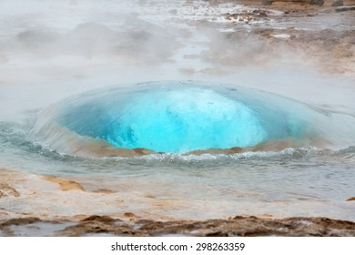 Strokkur geysir bubble ready to blow, Iceland in June