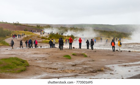Strokkur Geysir in Haukadalur Valley Area, Iceland
