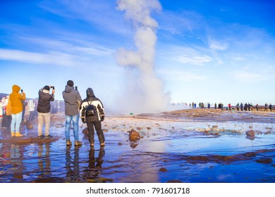 Strokkur (Icelandic, churn), one of the most famous geysers located in a geothermal area beside the Hvita River in the southwest part of Iceland, erupting once every 6–10 minutes