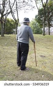 A stroll behind a walk walking through an old man's park with a cane