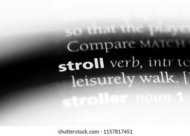 stroll word in a dictionary. stroll concept.
