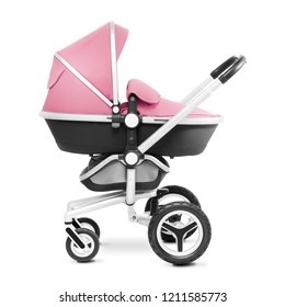 Stroller Isolated on White Background. Side View of Pink Baby Transport. Pushchair and Carrycot with Canopy and Swivel Wheels. Infant Carriage Seat. Travel System or Pram with Elevators and Raincover