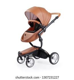 Stroller Isolated on White Background. Side View of Brown Grain Leather Baby Travel System with Canopy and Swivel Front Wheels. Infant Carriage Seat. Pram Pushchair with Adjustable Showerproof Hood