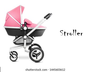Stroller Isolated on White Background. Pushchair and Carrycot with Canopy and Swivel Wheels. Pink Baby Transport. Infant Carriage Seat with Elevators and Raincover. Travel System or Pram Side View