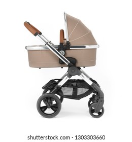 Stroller Isolated on White. Side View of Baby Transport. Peach Pushchair and Carrycot with Canopy and Swivel Wheels. Beige Infant Carriage Seat. Travel System or Pram with Elevators and Raincover
