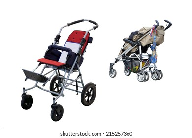 Strollers isolated under the white background
