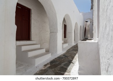 Strolling through the streets of the monastery of Ano Mera / the monastery of Ano Mera