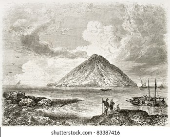 Stromboli island old view, Italy. Created by Rouargue, published on Le Tour du Monde, Paris, 1860