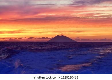 Stromboli volcano during sunset