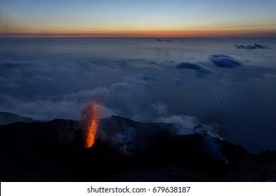 Stromboli, volcano eruption
