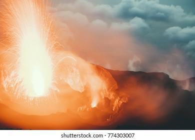 Stromboli vulcano eruption