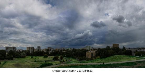 Stromy cluds above district of Wars\aw - Ursynow