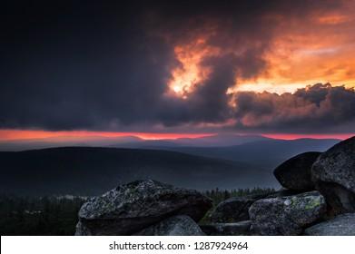 Stromy sunset over Szrenica/Karkonosze Mountains/Poland - Shutterstock ID 1287924964