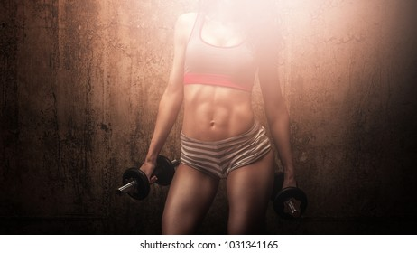 Strong abdominal core muscles show off