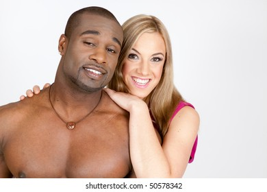 Strong African American man and beautiful blond caucasian woman