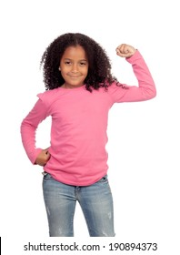 Strong African girl  isolated on a white background