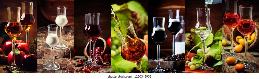 Strong alcoholic drinks, alcohol collection. Liqueurs and liquors in glasses. Rustik style. Photo collage