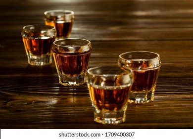 strong alcoholic drinks in glasses on the table, alcoholic beverages drinks