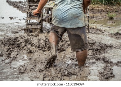 Strong asian farmer driving tiller tractor in muddy field, detail of male farmer walking barefoot in deep mud, hard work in field