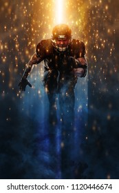 Strong athletic man. American football sportsman player running. Sport moution concept.