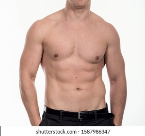 Strong Athletic Man Fitness Model Torso showing big muscles over.