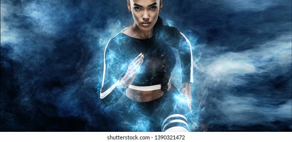 Strong athletic, woman sprinter or runner. Girl wearing in the sportswear runing outdoor. Fitness, sport motivation concept with copy space. Run in energy power.