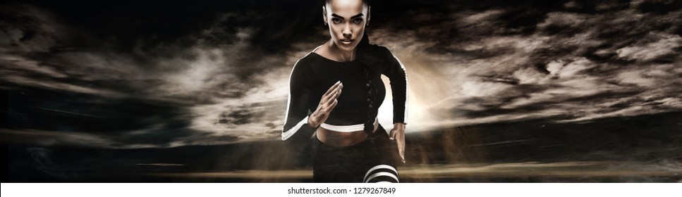 Strong athletic woman sprinter, running on dark background wearing in sportswear. Fitness and sport motivation. Runner concept.