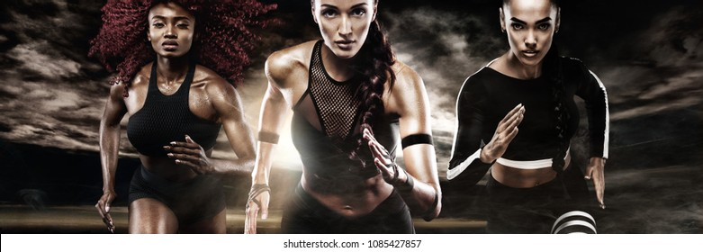 A strong athletic, women sprinter, running on dark background wearing in the sportswear, fitness and sport motivation. Runner concept.