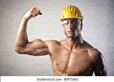 Strong attractive worker