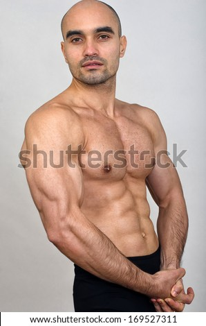 95c767a751 Strong Bald Bodybuilder Man Perfect Abs Stock Photo (Edit Now ...