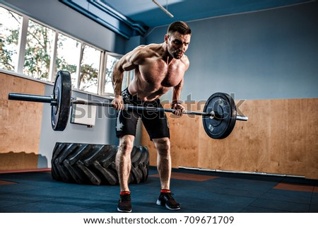 Strong Bearded Tattooed Man Crossfit Gym Stock Photo Edit Now