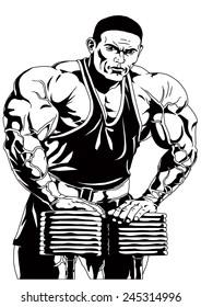 strong bodybuilder rests both hands on dumbbells,illustration,black and white,drawing,outline