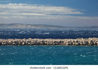 Strong bora winds causing high waves on the level of Adriatic sea in Croatia