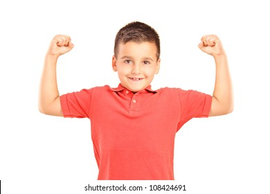 Strong boy showing muscles, isolated on white background