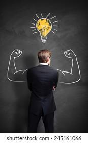 strong businessman having an idea
