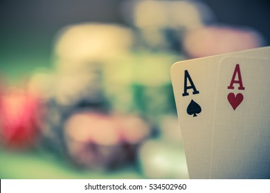 strong cards in poker game in casino