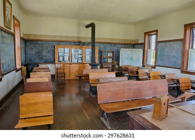 Strong City, Kansas - May 20, 2015: Interior of the historic one-room school, Lower Fox Creek School at the Tallgrass Prairie National Preserve. HDR processed.