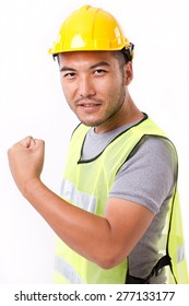 strong and confident contruction worker on white background