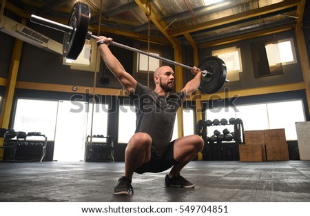 Strong Crossfit Athlete Heavy Overhead Squat Stock Photo Edit Now