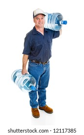 Strong delivery man carrying two five gallon water bottles.  Full Body isolated on white.