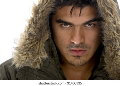 Strong fashion man isolated over white