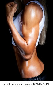Strong female biceps