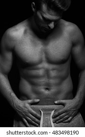 Strong fit muscular man black and white