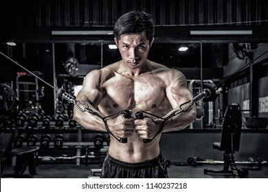 Strong fitness man doing arm workout with cable machine in the gym
