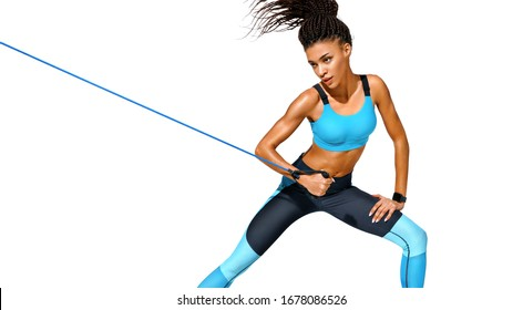 Strong girl working with resistance band. Photo of african american girl in fashionable sportswear on white background. Dynamic movement. Sports and healthy lifestyle