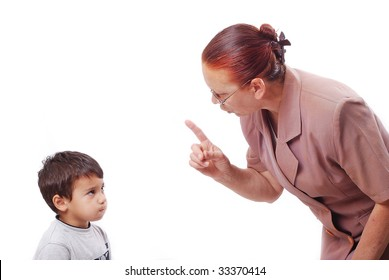 Strong grandmother is talking hard talk with her grandson